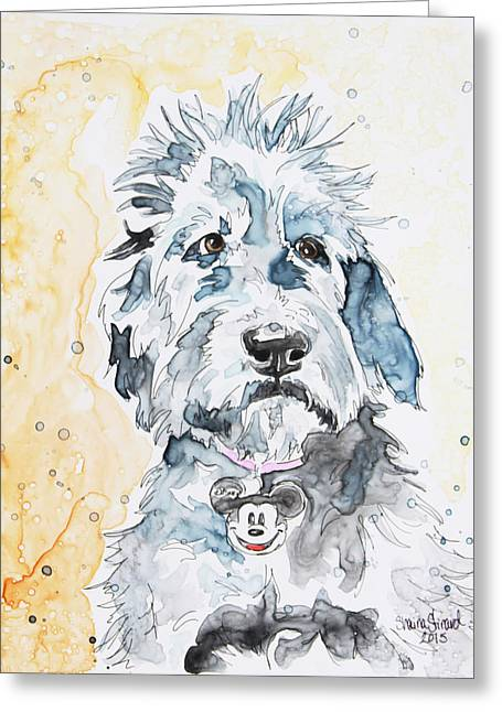 Pen And Paper Greeting Cards - Labradoodle Greeting Card by Shaina Stinard