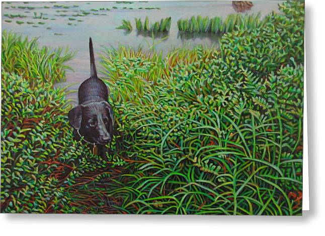 Budget Paintings Greeting Cards - Labrador Greeting Card by Kenneth Cobb