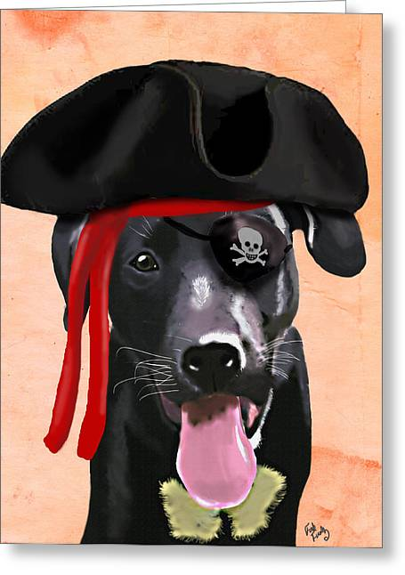 Canine Framed Prints Digital Art Greeting Cards - Labrador Pirate Greeting Card by Kelly McLaughlan
