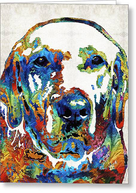 Dog Playing Ball Greeting Cards - Labrador Retriever Art - Play With Me - By Sharon Cummings Greeting Card by Sharon Cummings