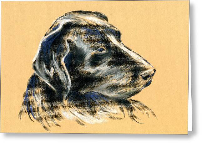 Hunting Bird Pastels Greeting Cards - Labrador Retriever - Black Dog Pastel Drawing Greeting Card by MM Anderson