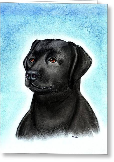 Labradors Pastels Greeting Cards - Labrador Retriever Black Greeting Card by Olde Time  Mercantile