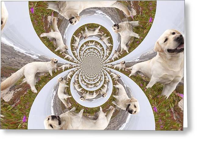 Retriever Prints Digital Art Greeting Cards - Labrador retriever goes Walkies  Greeting Card by Nikki Keep