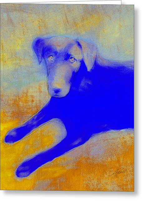 Ann Powell Art Greeting Cards - Labrador Retriever in Blue and Yellow Greeting Card by Ann Powell