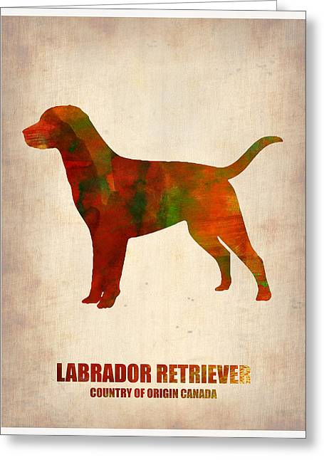 Cute Labradors Greeting Cards - Labrador Retriever Poster Greeting Card by Naxart Studio