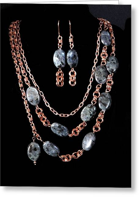 Wirework Jewelry Greeting Cards - Labradorite and Copper Greeting Card by Jan Brieger-Scranton