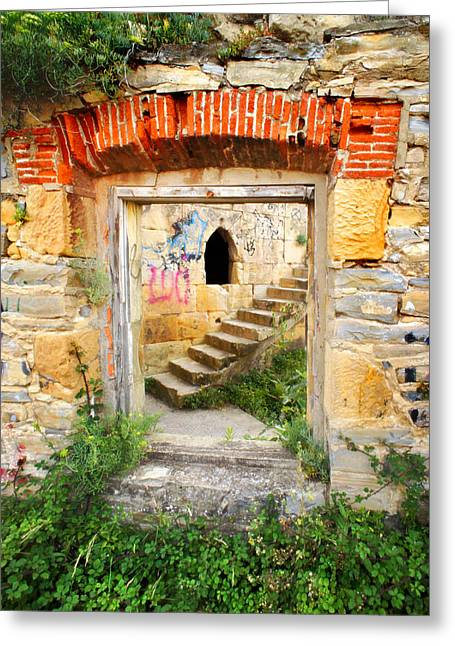 Medieval Entrance Greeting Cards - Labyrinth entrance Greeting Card by Mikel Martinez de Osaba