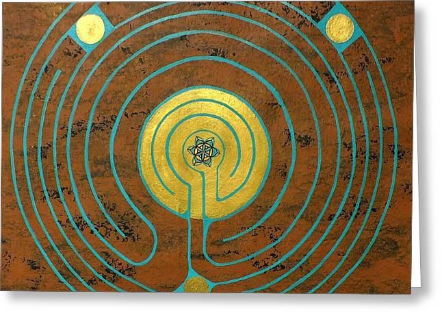 Labyrinth W Sun Labyrinth Center Greeting Card by Folade Speaks