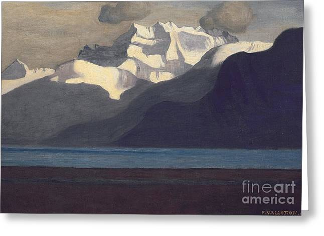 Midi Greeting Cards - Lac Leman and Les Dents-du-Midi Greeting Card by Felix Edouard Vallotton