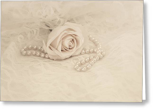 White Cloth Greeting Cards - Lace and Promises Greeting Card by Kim Hojnacki