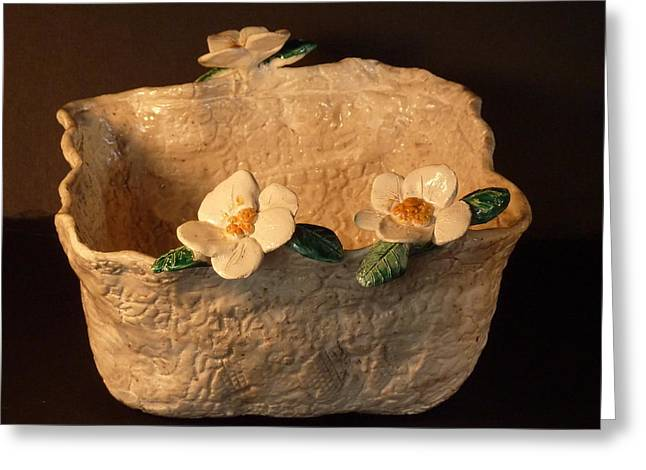 Handmade Pottery Ceramics Greeting Cards - Lace bowl sculpture Greeting Card by Debbie Limoli