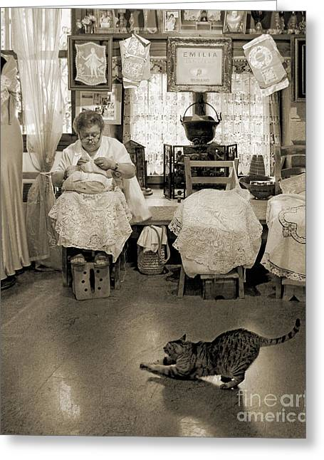 Foot Stool Greeting Cards - Lace Lady of Burano-BW Greeting Card by Jennie Breeze