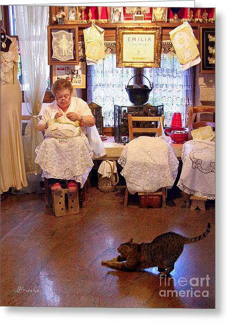 Foot Stool Greeting Cards - Lace Lady of Burano Greeting Card by Jennie Breeze