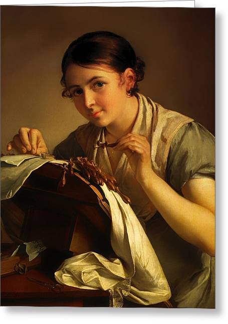 Russian Girl Greeting Cards - Lace Maker Greeting Card by Vasily Tropinin
