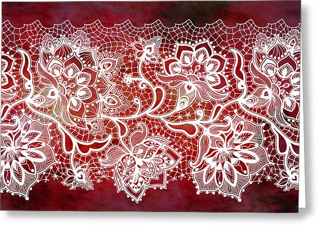 Red Wine Prints Greeting Cards - Lace - Ruby Greeting Card by Lilia D