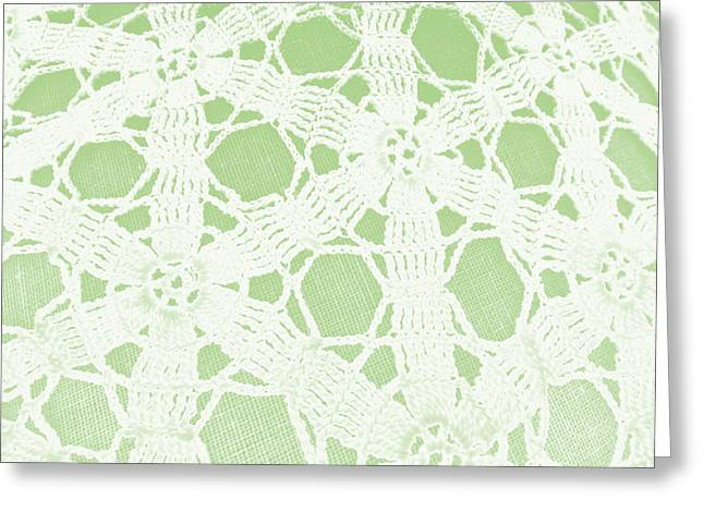 Crocheted Doily Greeting Cards - Lacey Crochet Greeting Card by Grace Dillon
