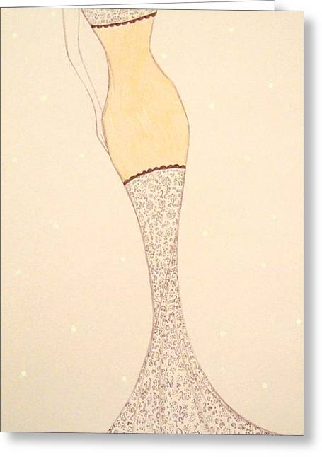Evening Dress Pastels Greeting Cards - Lacey Gown Greeting Card by Christine Corretti