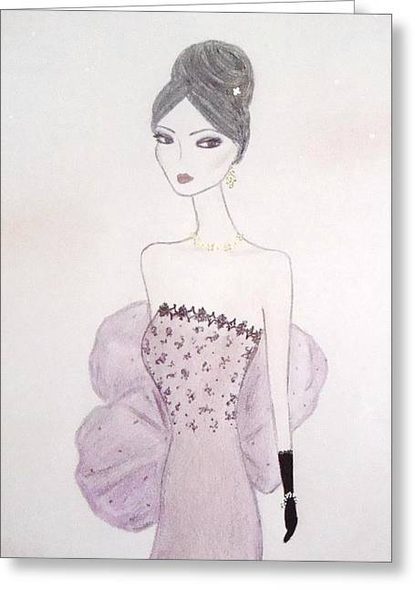 Evening Dress Pastels Greeting Cards - Lacey Lavender  Greeting Card by Christine Corretti
