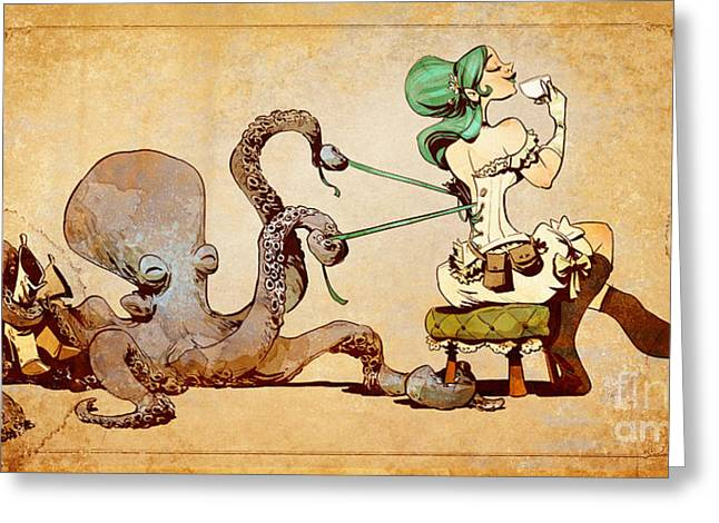 Steampunk Greeting Cards - Lacing Up Greeting Card by Brian Kesinger