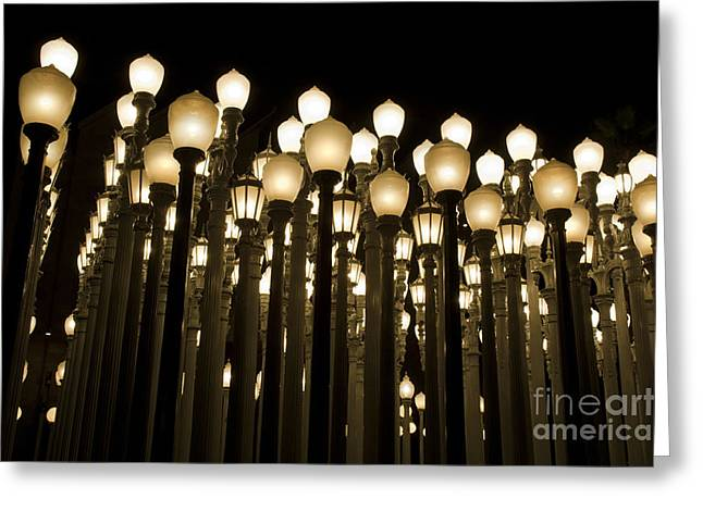 Light Pole Greeting Cards - LACMA Light Exhibit in LA 5 Greeting Card by Micah May