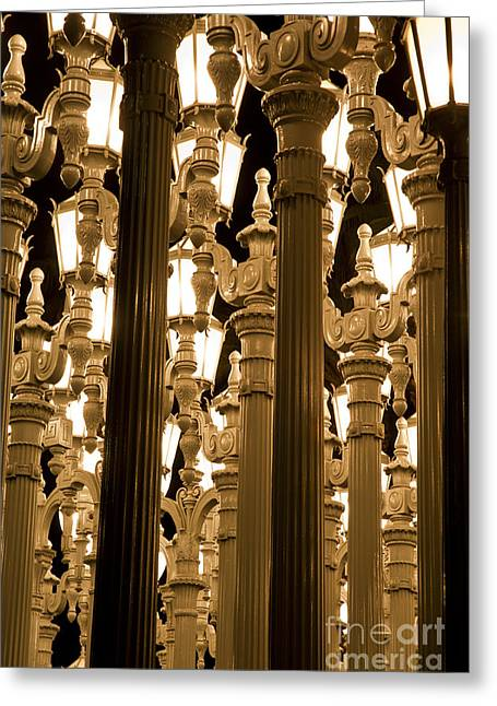 Light Pole Greeting Cards - LACMA Light Exhibit in LA 7 Greeting Card by Micah May
