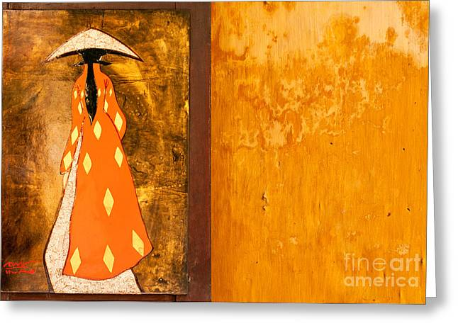 Lacquer Greeting Cards - Lacquer Painting Ochre Wall Greeting Card by Rick Piper Photography