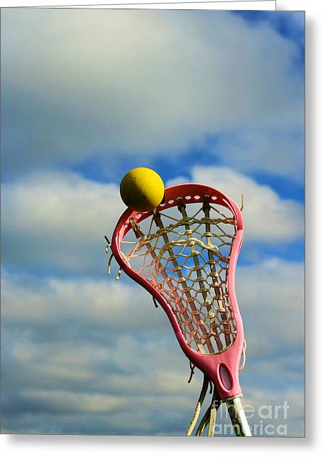 Girls In Pink Greeting Cards - Lacrosse In the Pink Greeting Card by Paul Ward
