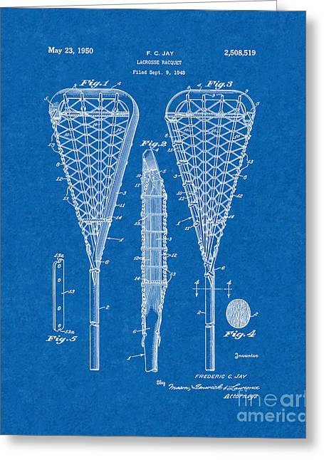 Racquet Digital Art Greeting Cards - Lacrosse Racquet Patent - Blueprint Greeting Card by BJ Simpson