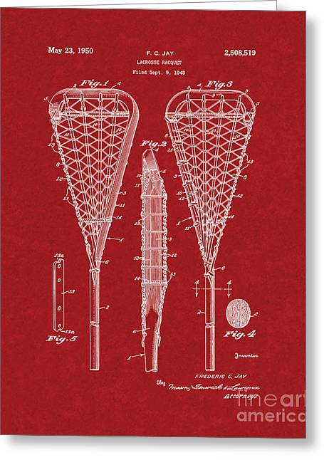 Racquet Digital Art Greeting Cards - Lacrosse Racquet Patent - Burgundy Red Greeting Card by BJ Simpson