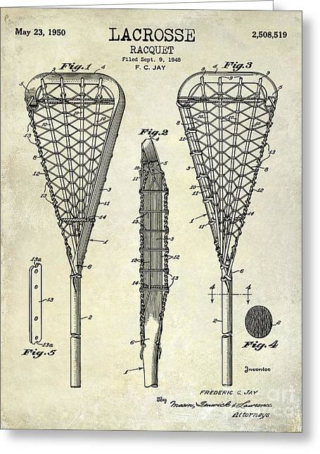 Racquet Photographs Greeting Cards - Lacrosse Racquet Patent Drawing Greeting Card by Jon Neidert