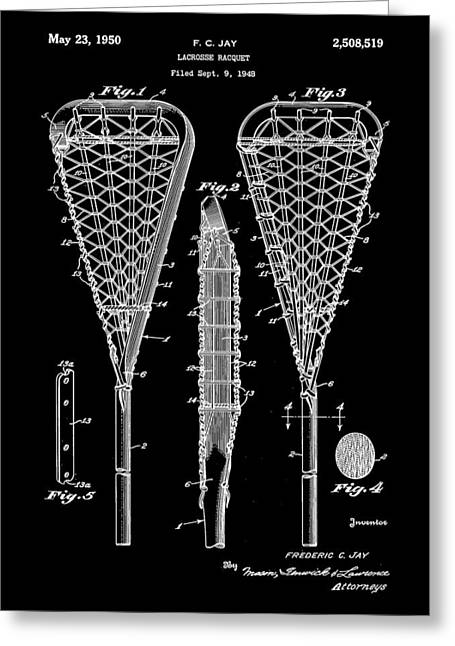 Offense Digital Art Greeting Cards - Lacrosse Stick Patent 1948 - Black Greeting Card by Stephen Younts