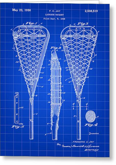 Offense Digital Art Greeting Cards - Lacrosse Stick Patent 1948 - Blue Greeting Card by Stephen Younts