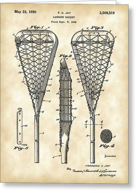 Offense Digital Art Greeting Cards - Lacrosse Stick Patent 1948 - Vintage Greeting Card by Stephen Younts