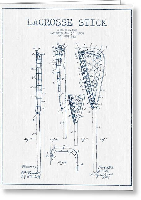 Lacrosse Greeting Cards - Lacrosse Stick Patent from 1908 -  Blue Ink Greeting Card by Aged Pixel
