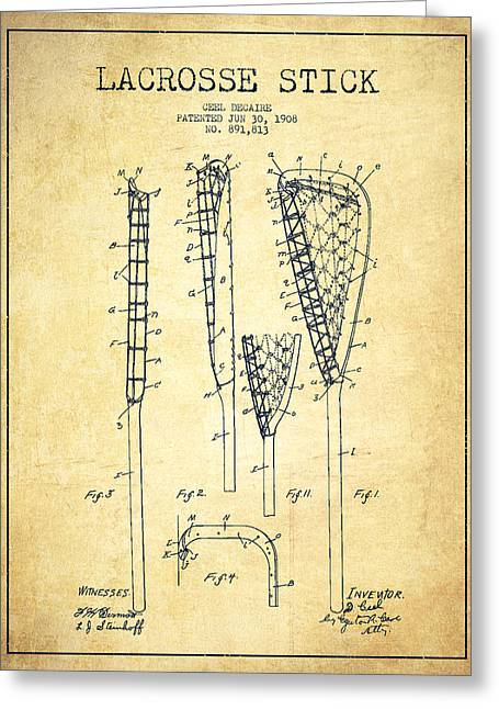 Lacrosse Greeting Cards - Lacrosse Stick Patent from 1908 - Vintage Greeting Card by Aged Pixel