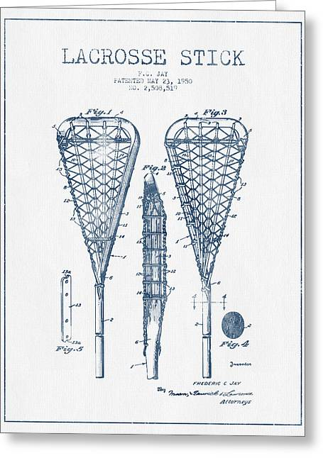 Lacrosse Greeting Cards - Lacrosse Stick Patent from 1950  -  Blue Ink Greeting Card by Aged Pixel