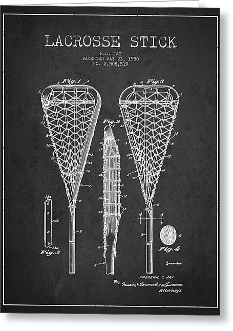 Goalie Greeting Cards - Lacrosse Stick Patent from 1950- Dark Greeting Card by Aged Pixel