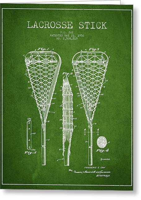 Goalie Greeting Cards - Lacrosse Stick Patent from 1950- Green Greeting Card by Aged Pixel
