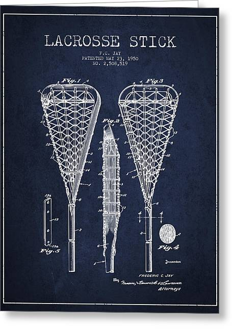 Lacrosse Greeting Cards - Lacrosse Stick Patent from 1950- Navy Blue Greeting Card by Aged Pixel