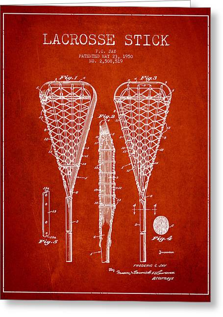 Lacrosse Greeting Cards - Lacrosse Stick Patent from 1950- Red Greeting Card by Aged Pixel