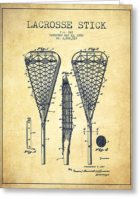 Lacrosse Greeting Cards - Lacrosse Stick Patent from 1950- Vintage Greeting Card by Aged Pixel