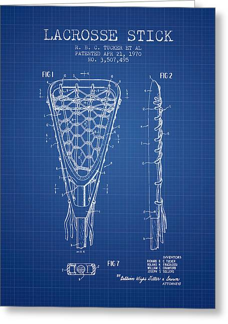Lacrosse Greeting Cards - Lacrosse Stick Patent from 1970 -  Blueprint Greeting Card by Aged Pixel