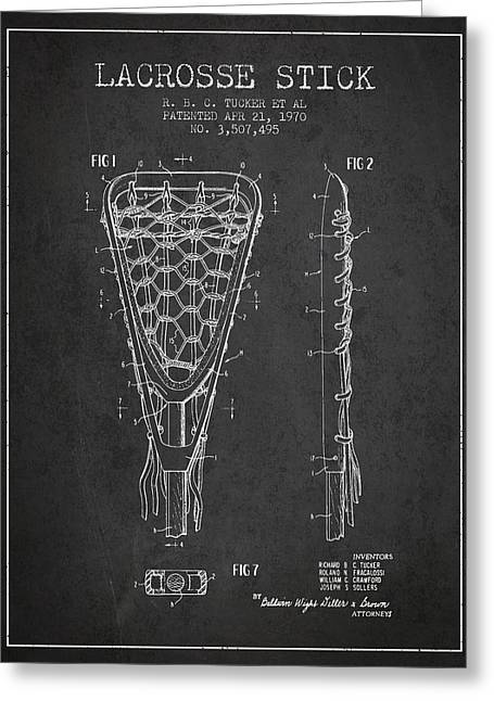 Lacrosse Greeting Cards - Lacrosse Stick Patent from 1970 - Charcoal Greeting Card by Aged Pixel
