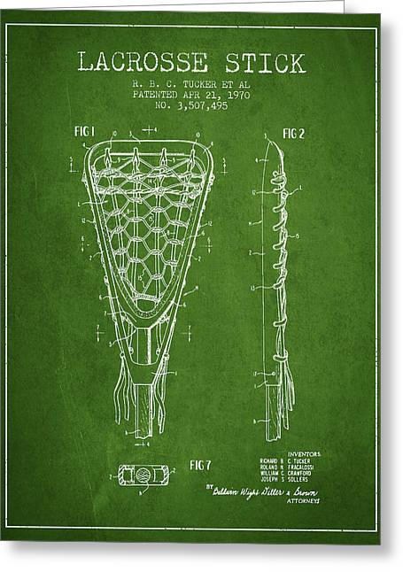 Player Digital Greeting Cards - Lacrosse Stick Patent from 1970 - Green Greeting Card by Aged Pixel