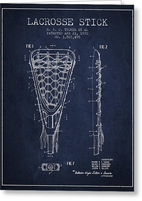 Player Digital Greeting Cards - Lacrosse Stick Patent from 1970 - Navy Blue Greeting Card by Aged Pixel