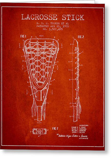 Player Digital Greeting Cards - Lacrosse Stick Patent from 1970 - Red Greeting Card by Aged Pixel