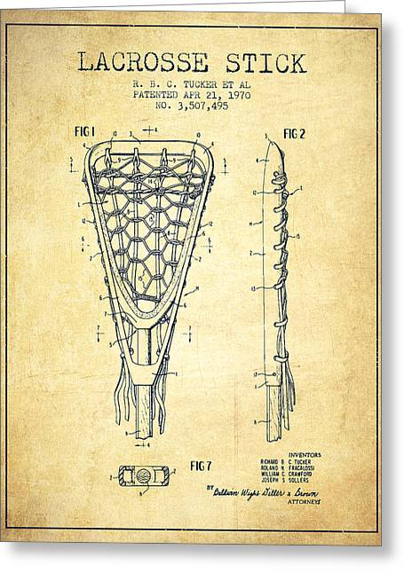 Lacrosse Greeting Cards - Lacrosse Stick Patent from 1970 -  Vintage Greeting Card by Aged Pixel