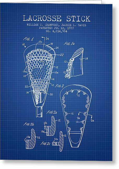 Lacrosse Greeting Cards - Lacrosse Stick Patent from 1977 -  Blueprint Greeting Card by Aged Pixel