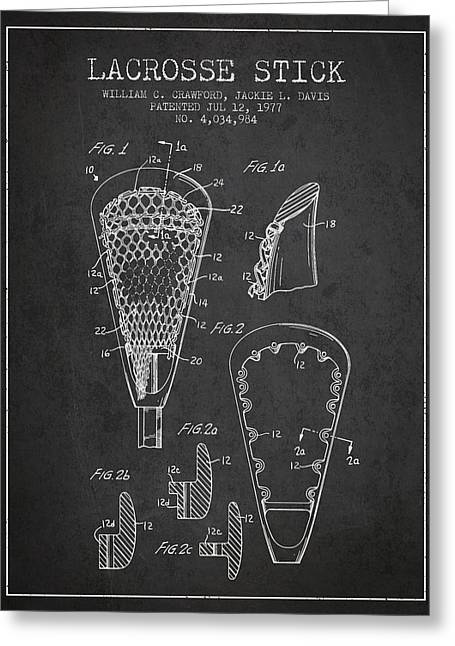Lacrosse Greeting Cards - Lacrosse Stick Patent from 1977 -  Charcoal Greeting Card by Aged Pixel