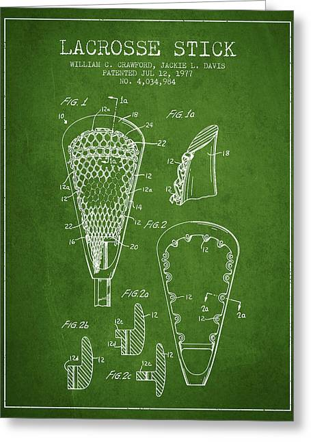 Goalie Greeting Cards - Lacrosse Stick Patent from 1977 -  Green Greeting Card by Aged Pixel